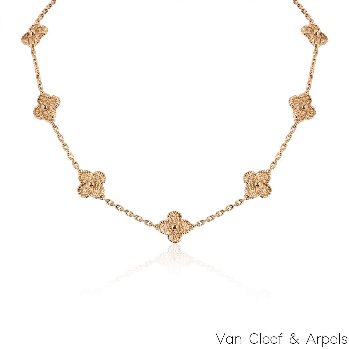 Van Cleef & Arpels Rose Gold Vintage Alhambra Necklace VCARN9T100